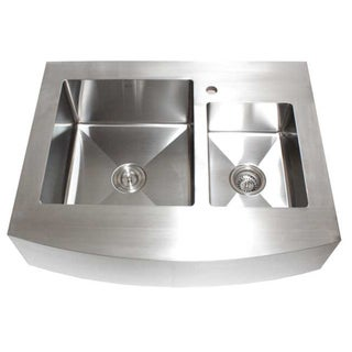 36-Inch Double Bowl 60/40 Curve Apron Sink