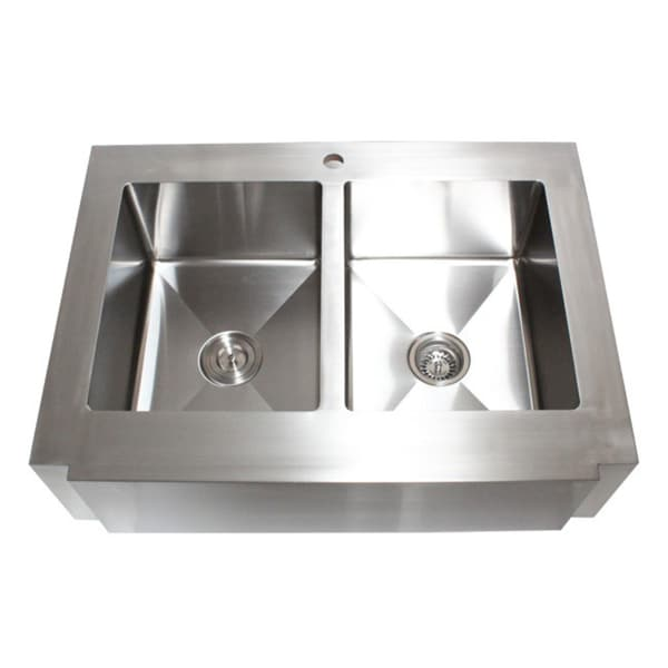 Apron Sink 36 : 36-inch Stainless Steel Farmhouse Double Bowl Flat Apron Kitchen Sink ...
