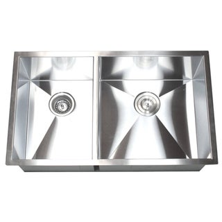 32-Inch Double Bowl 40/60 Undermount Zero Radius Kitchen Sink ...