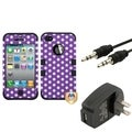 BasAcc Wall Charger/ Audio Cable/ Dots Case for Apple iPhone 4/ 4S