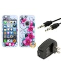 BasAcc Wall Charger/ Audio Cable/ Petunias Case for Apple iPhone 4/ 4S