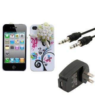 BasAcc Wall Charger/ Audio Cable/ Pink Case for Apple iPhone 4/ 4S