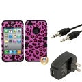 BasAcc Wall Charger/ Audio Cable/ Leopard Case for Apple iPhone 4/ 4S