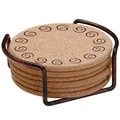 Swirls Cork Drink Coasters and Holder Set