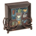 Ambiance Coffee Cups Bronze Drink Coasters and Holder Set
