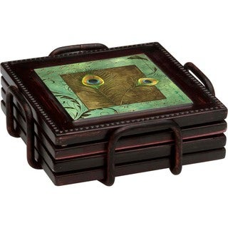 Ambiance Peacock Feathers Bronze Drink Coasters and Holder Set