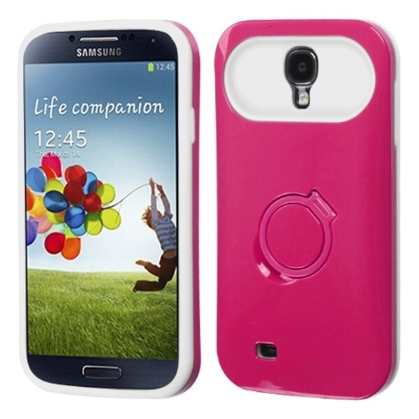 INSTEN Hot Pink/ White Phone Case Cover with Stand for Samsung Galaxy S4 i9500
