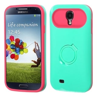 INSTEN Green/ Hot Pink Phone Case Cover with Stand for Samsung Galaxy S4 i9500