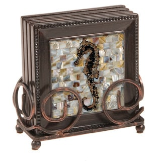 Ambiance Seahorse Bronze Drink Coasters and Holder Set