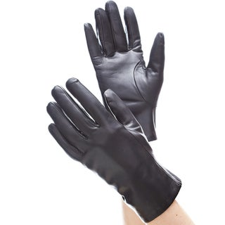 Isotoner Women's Black Leather Thinsulate-lined Gloves