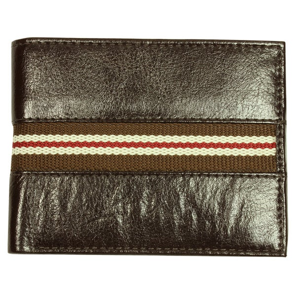 Men's Brown Single-Striped Bi-Fold Leather Wallet