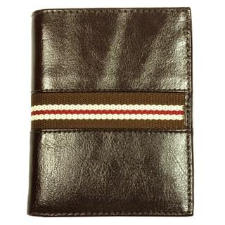 Men's Brown Striped Bi-Fold Fabric-Lining Leather Wallet