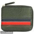 YL Men's Striped Leather Bi-fold Wallet with Fabric Lining