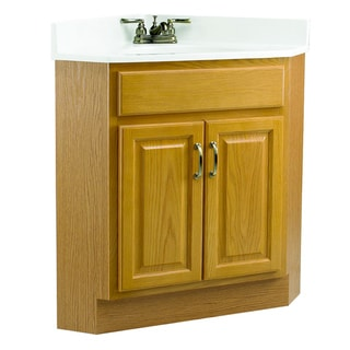 Design House Richland Nutmeg Oak 2-Door Corner Vanity Cabinet