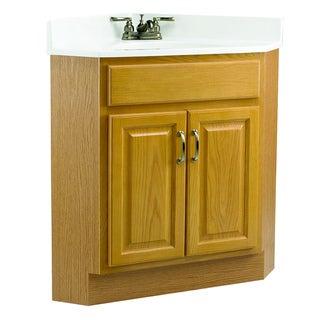 Design House Richland Nutmeg Oak 2-Door Corner Vanity Cabinet