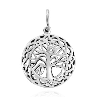 Handmade Beautifully Framed Tree of Life Sterling Silver Charm Pendant (Thailand)