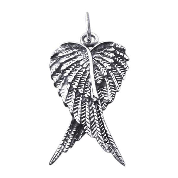 Forever Love Heart Shape Angel Wings 925 Silver Pendant
