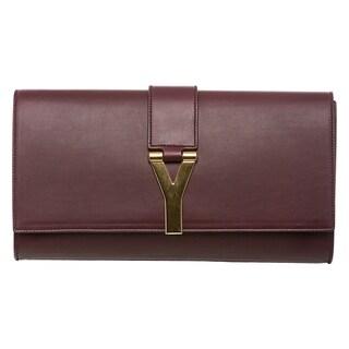 Saint Laurent Burgundy Leather 'Y' Clutch