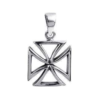 Cut Out Iron Cross Faith .925 Sterling Silver Pendant (Thailand)