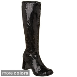Bordello Women's 'SPECTACUL-300SQ' Block Heel Sequins Knee Boots