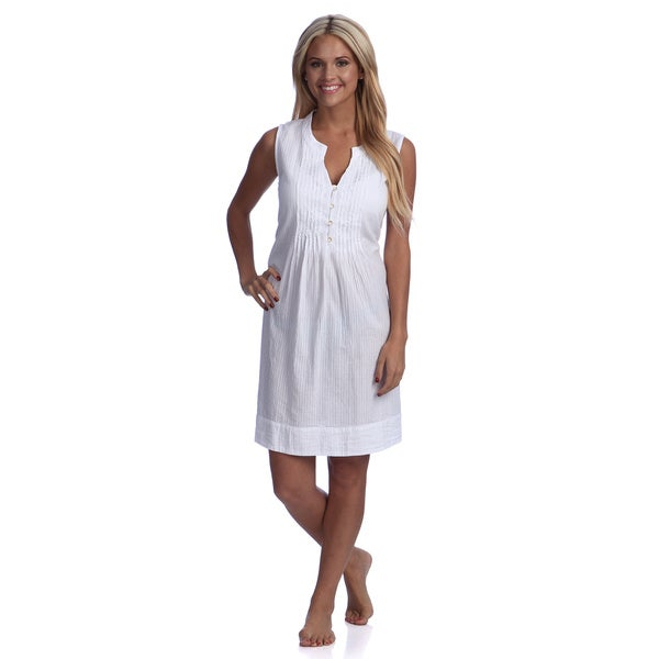 Embroidered Striped Nightdress