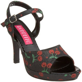 Bordello Women's 'AMUSE-05G' Heel Cherry Glitter Sandals