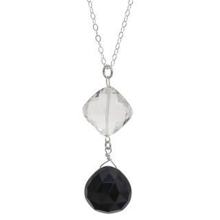 Ashanti Black Onyx and Rock Crystal Gemstone Dangle Handmade Pendant (Sri Lanka)