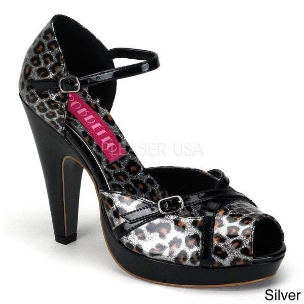 Bordello Women's 'CHEETAH-06G' Peep Toe Ankle Strap Mini Platform Sandals