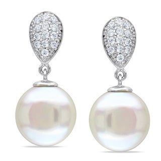 Miadora Sterling Silver Freshwater Pearl and White Topaz Dangle Earrings
