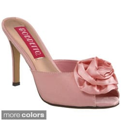 Bordello Women's 'ROSA-01' Heel Peep Toe Rose Ornament Sandals