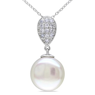 M by Miadora Sterling Silver Pearl and White Topaz Necklace (14-15)
