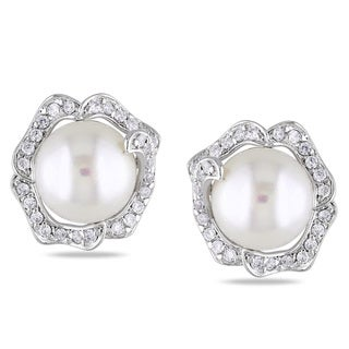 Miadora Sterling Silver Pearl and White Topaz Stud Earrings (9-10 mm)