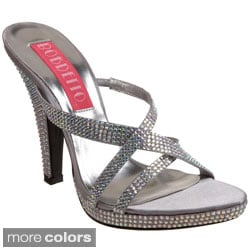 Bordello Women's 'SIREN-02R' Heel Rhinestone Criss-cross Sandals
