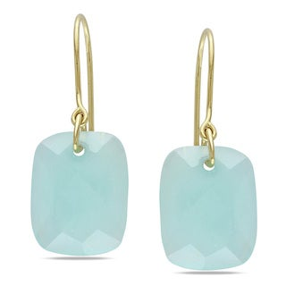 Miadora 10k Yellow Gold 14ct TGW Aqua Green Charm Earrings