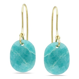 Miadora 10k Yellow Gold 12ct TGW Amazonite Charm Earrings