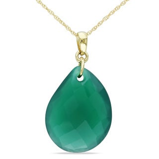 Miadora 10k Yellow Gold 10 1/2ct Green Onyx Necklace