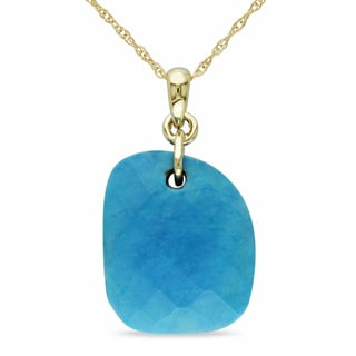 Miadora 10k Yellow Gold 5/8ct Turquoise Necklace