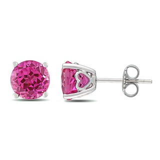 Miadora Sterling Silver Created Pink Sapphire Stud Earrings