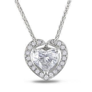 Miadora Certified 14k White Gold 1 1/10ct TDW Diamond Heart Necklace (H, VS1)
