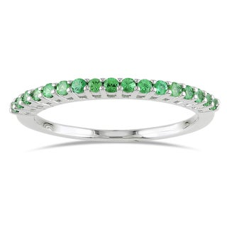 Miadora Sterling Silver Tsavorite Stackable Ring