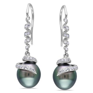 Miadora 14k White Gold Tahitian Pearl and 1/5ct TDW Diamond Earrings (G-H, I1-I2)