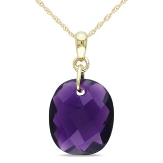 Miadora 10k Yellow Gold 8 1/2ct Hydro Amethyst Necklace