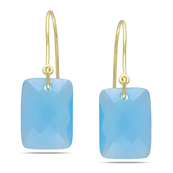 Miadora 10k Yellow Gold 13ct TGW Blue Chalcedony Charm Earrings