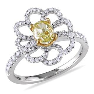 Miadora Signature Collection 14k Gold 1 1/2ct TDW Diamond Flower Cocktail Ring