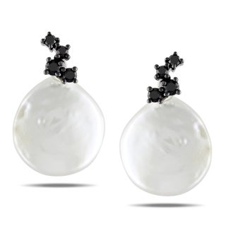 Miadora 10k White Gold Coin Pearl and 1/4ct TDW Black Diamond Earrings