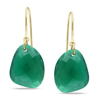 Miadora 10k Yellow Gold 20ct TGW Green Onyx Charm Earrings
