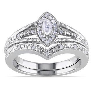 Miadora Sterling Silver 1/3ct TDW Diamond Bridal Ring Set (G-H, I1-I2)