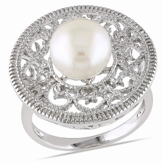 Miadora Sterling Silver Freshwater White Pearl Ring (8.5-9 mm)