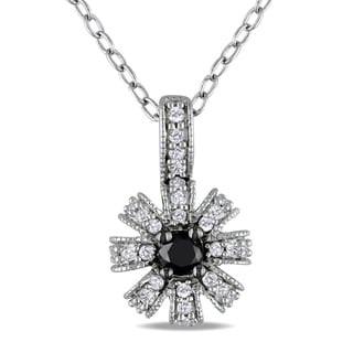 Haylee Jewels Sterling Silver 1/4ct TDW Black and White Diamond Necklace