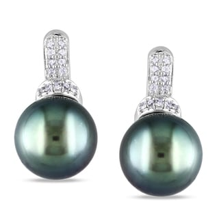 Miadora 14k White Gold Tahitian Black Pearl and Diamond Earrings (8-9 mm)